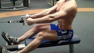 A man doing the seated row